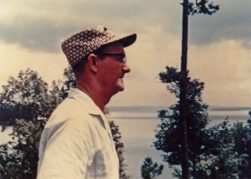 Frank at Lake Lanier. Never known for his fashion sense, he made a statement nonetheless with this cap of houndstooth tweed, a longtime favorite.