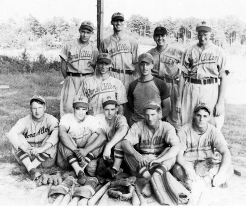 Members of the Bona Allen baseball team, probably in the late 1940s. Frank is top row, right. His brother Bill is center row, left.