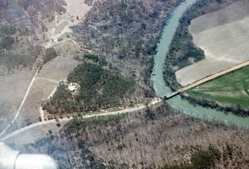 View of the Smiths' eight acres (left of center), the Hooch, and Little's Ferry Bridge. Photo taken in 1965.