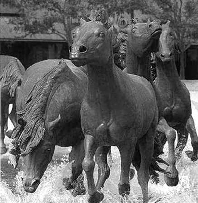 The Stuttgart Stallions, forever galloping through the fountain in front of SHS.