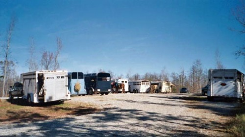 Horse trailers at the Frady Branch trailhead.