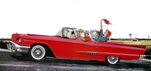 Taking a spin is a 1958 T-bird.