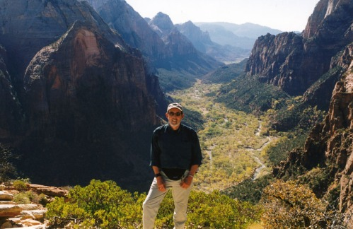 Yours truly, posing happily atop Angels Landing.
