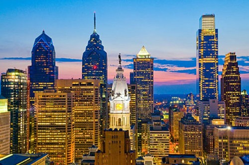 The Philadelphia skyline, showing One Liberty Place (with the red dot), City Hall (center), and the Comcast Center looming at right.
