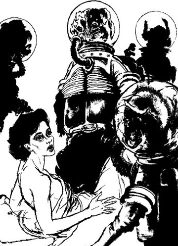 Original illustration from Galaxy Science Fiction by Peter Burchard.