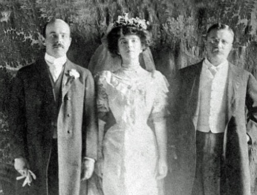Nick and Alice on their wedding day, 1906, with Teddy.