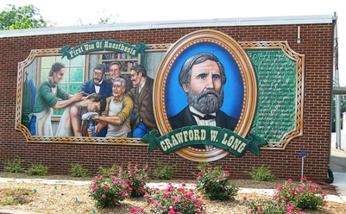 Commemorative mural in downtown Jefferson.