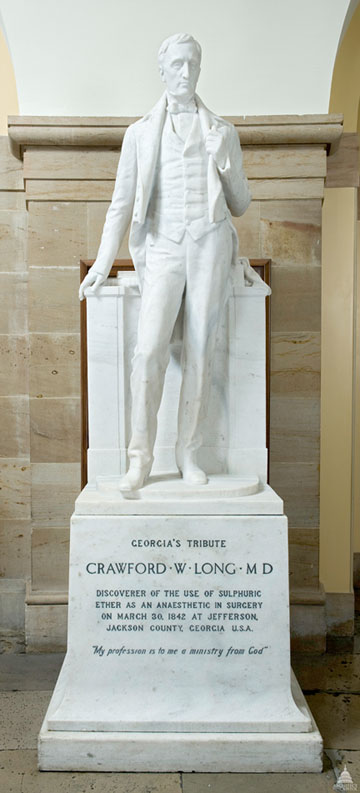 The two Georgians honored in Statuary Hall in Washington, D.C. are Crawford Long and his former college roommate, Alexander Stephens.