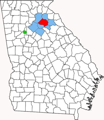 Red = present Jackson County, blue = original Jackson County, green = Atlanta.