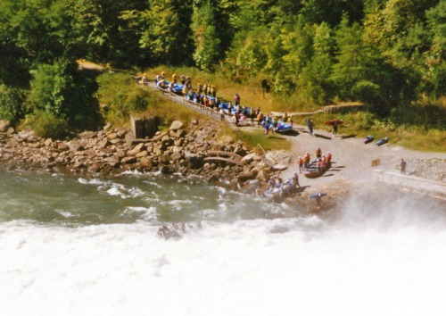 Rafters waiting to challenge the eddie wall, September 1997.