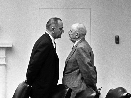 Russell getting an earful from LBJ in 1964.