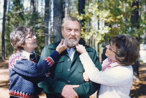 Mom and Aunt Betty check the progress of Dad's beard.