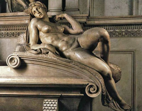 """Dawn"" by Michelangelo, sculpted circa 1524, one of four nude statues by the artist in the Medici Chapel, Florence, Italy."
