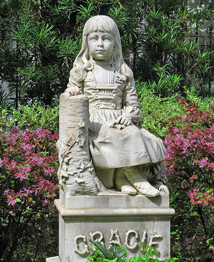 Gracie Watson died of pneumonia in 1889 at age six. The statue's nose was chipped in the 1940s when a little boy hit it with a rock.