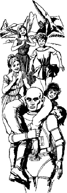 Original illustration from If Worlds of Science Fiction by Paul Orban. Nicely done, even though he forgot Herbert's permanent smile.