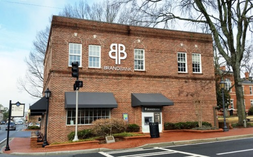 Scene of the crime -- the old Brand Banking Company office on the square in Lawrenceville, now nicely remodeled.