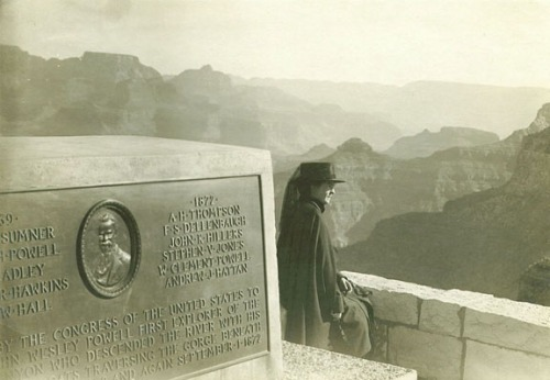 Noted violinist Maud Powell, niece of John Wesley Powell, shown in 1918 at the Powell Memorial, Grand Canyon, Arizona.