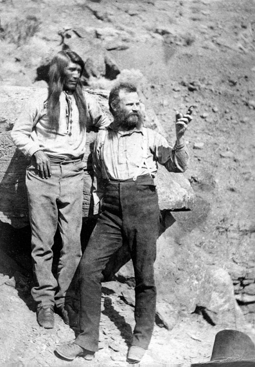Photo of Powell prior to the 2nd expedition with Tau-gu, a Paiute chief.