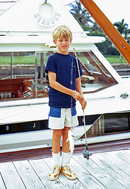 Fort Lauderdale, 1972: my son Britt posing with his catch in front of the Seaduce.