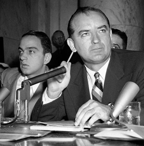 Senator Joseph McCarthy (r) with attorney Roy Cohn.